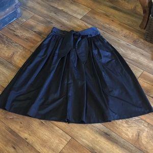 Eva Mendes Tie Waist Midi Skirt Black Sz8 Pocket